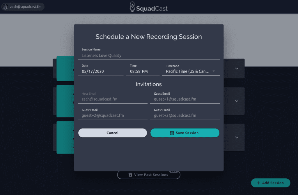 Add New Session Modal