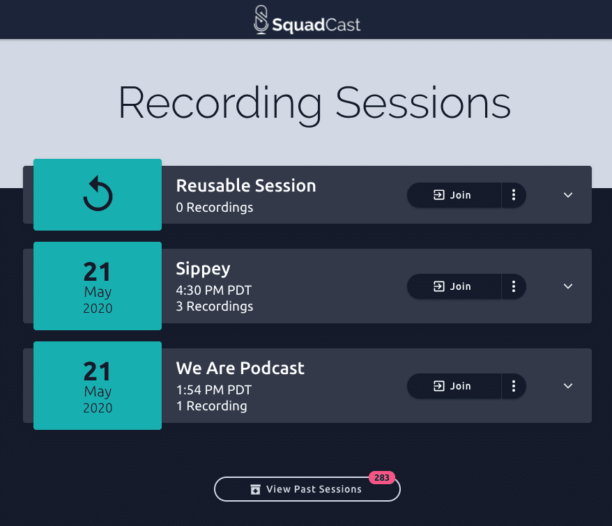New Recording Sessions Page